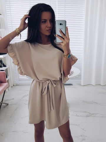 Loose Belt Batwing Sleeve Ruffle Khaki Mini Dress