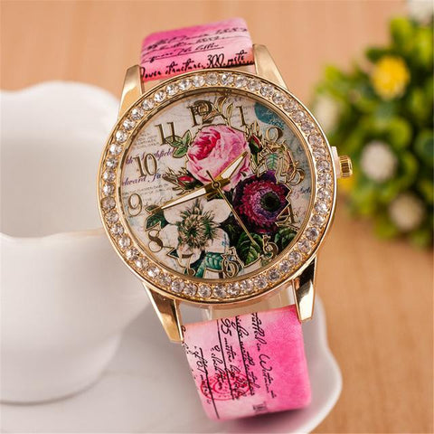 New Bohemian Style Rhinestone Flower Ladies Watch