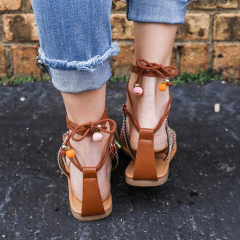 Boho Sandals  Casual Cross strap Ankle Wrap Lace Up Shoes