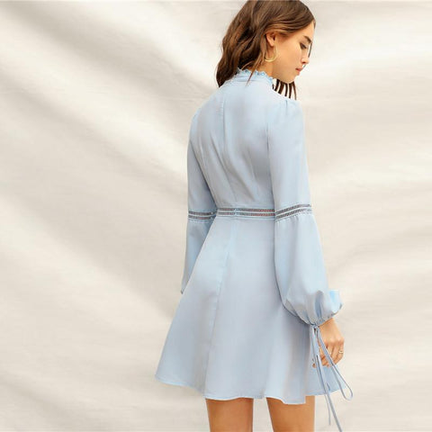 Blue Mock Neck Guipure Lace Detail Lantern Sleeve Dress