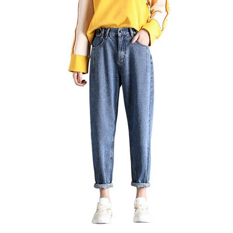 Loose Harem Vintage Jeans Woman High Waist Light Blue Jeans
