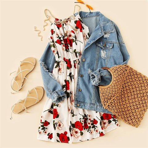 Cute Floral Summer Knot Front Midi Dress