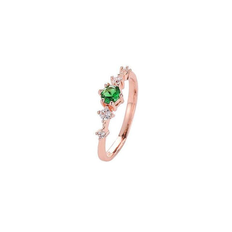 Vintage Green/Whiten/Pink Crystal CZ Stone Ring