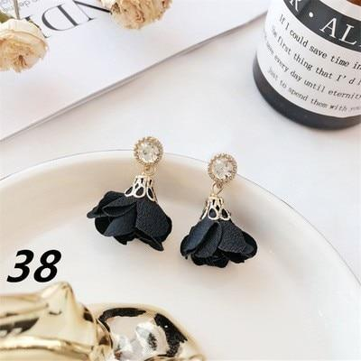 Black Geometry Tassel Drop Earrings