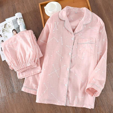 Spring Autumn Two Piece Long Sleeve Sleepwear