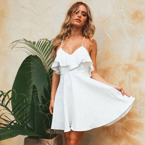 Straps Sexy Beach Chiffon Dress