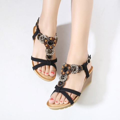 Bohemia Beaded Gladiator Sandals Summer High Heels  Shoes