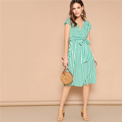 Green Boho Deep V Neck Mixed Striped Belted Midi Dress