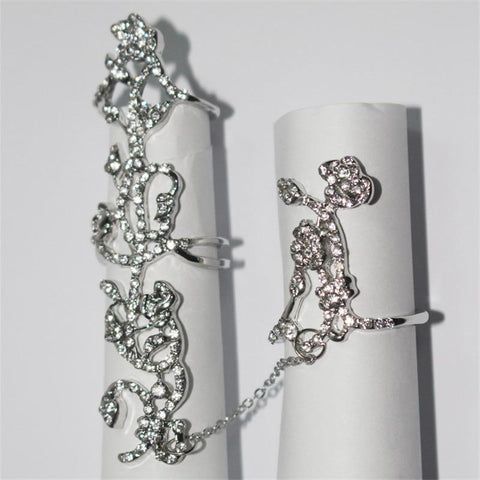 Occident Chic Shiny Crystal Floral Ring Connect Full 2 Finger Ring
