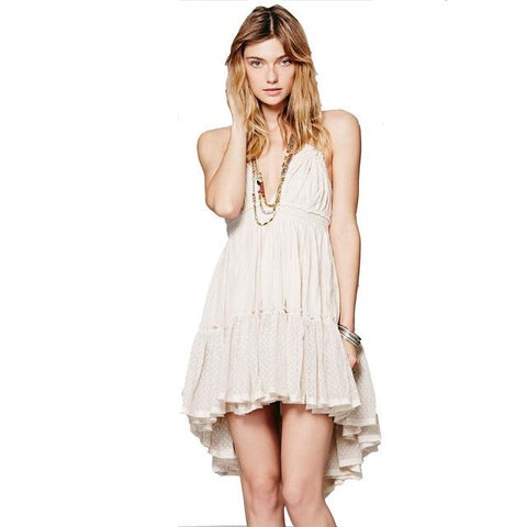 Bohemian Dress Sexy Spaghetti Strap V Neck Backless Dresses
