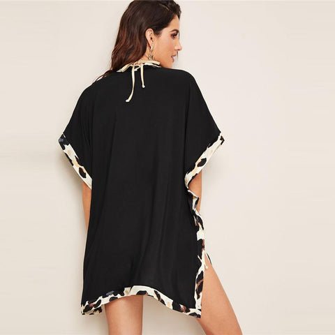 Black Batwing Sleeve Leopard Panel Split Side Kimono