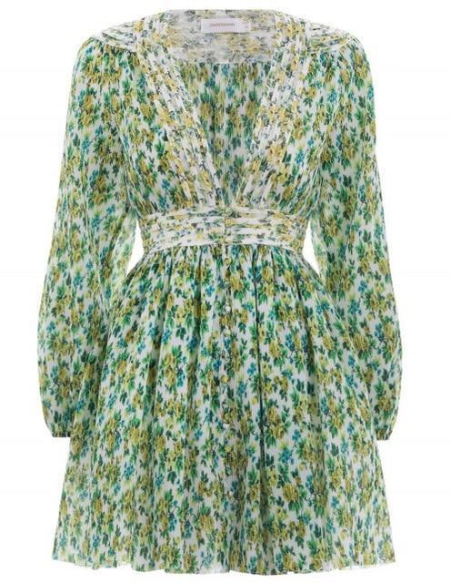 Bohemian  Sexy Deep Green Floral Pleated Dress