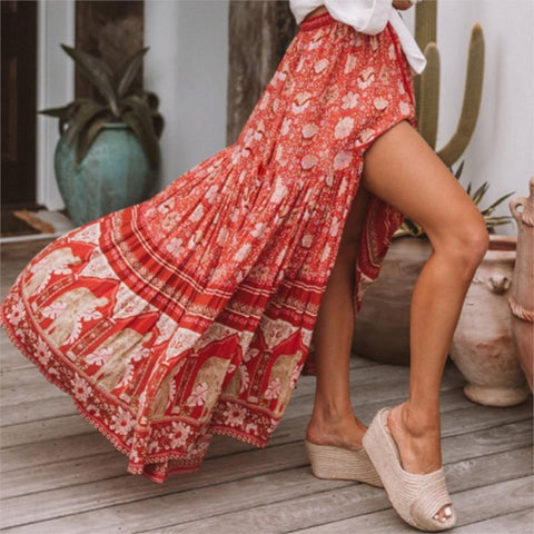 Bohemian Red Floral Print Maxi Skirt