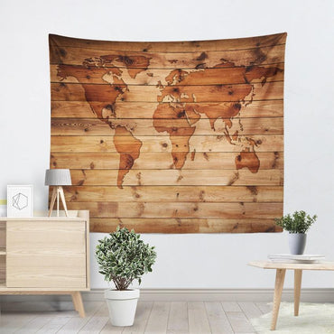 Wood Grain World Map Bohemian Mandala Tapestry