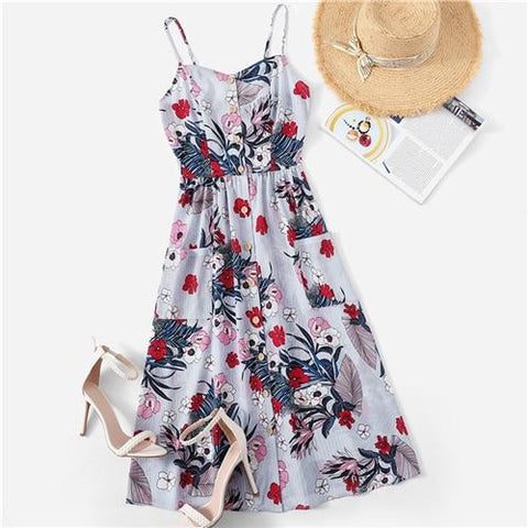 Boho Multicolor Pocket Front Button Up Floral Summer Cami Midi Dress