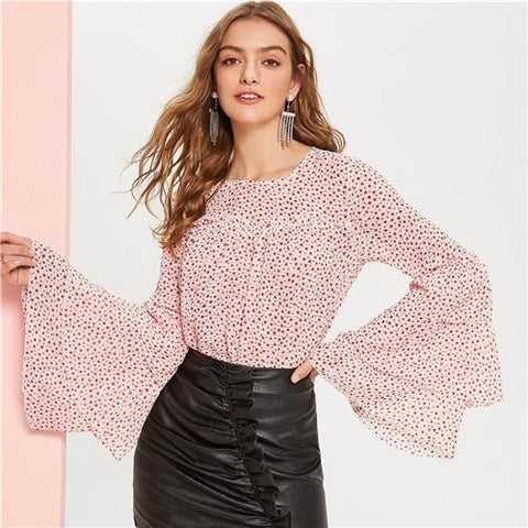 Boho Multicolor Tiered Flare Sleeve Frill Detail Dot Top