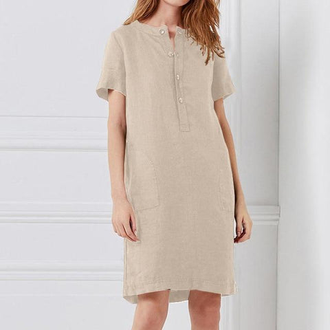 Vintage Tunic Top Short Sleeve Linen Dress