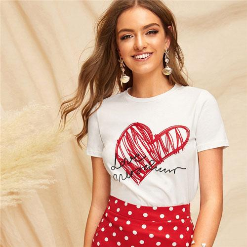 Simple Round Neck Graphic Print White T Shirt