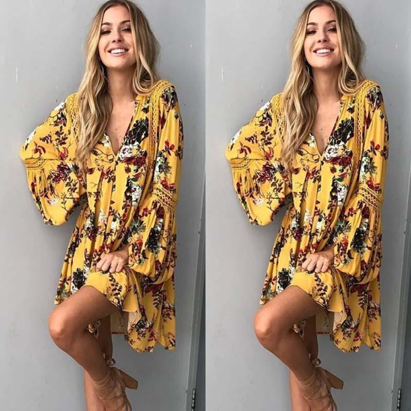 Summer Cotton  Floral Long Sleeve Loose Party Boho Mini Dress