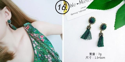 Green flannel Drop Earrings