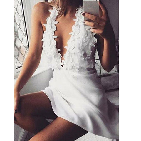 Sling Cross White Dress Sexy Elegant Party Evening Slim Hollow Lace Dress