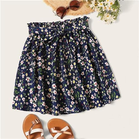 Boho Navy Ditsy Floral Print Belted Flared Skirt