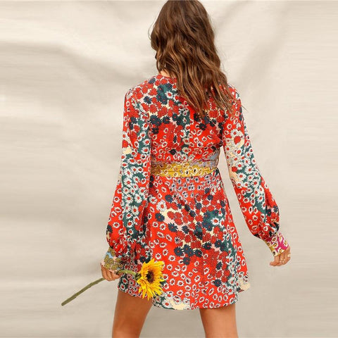 Boho  Button Front Floral Belted Fit and Flare Dress
