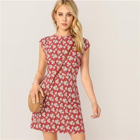 Red Stand Collar Zip Back Ditsy Floral Short Slim Dress