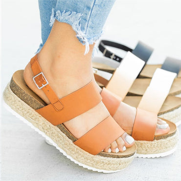 New Platform Wedges Leather Chunky Heels  Sandals
