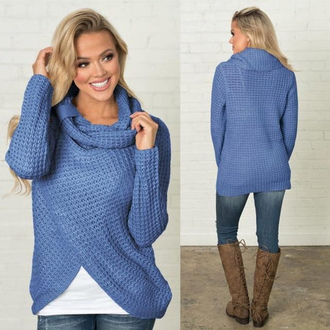 Casual Turtleneck Button Fork Sweater