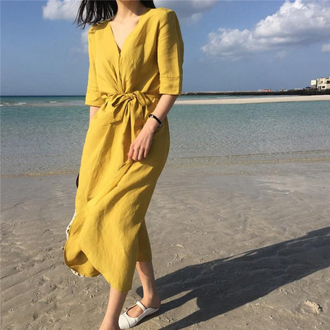 Casual Thin Light Cotton Linen Sashes Midi Dress