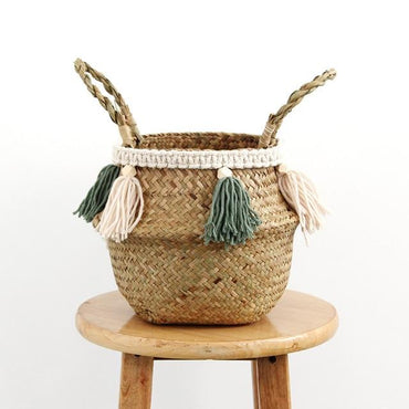 Macrame Decoration Wicker Garden Flower Pot Study Room Storage Rattan Basket