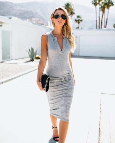 Summer V-Neck Solid Sheath Dress