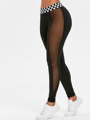 Mesh Panel Contrast Waistband Leggings