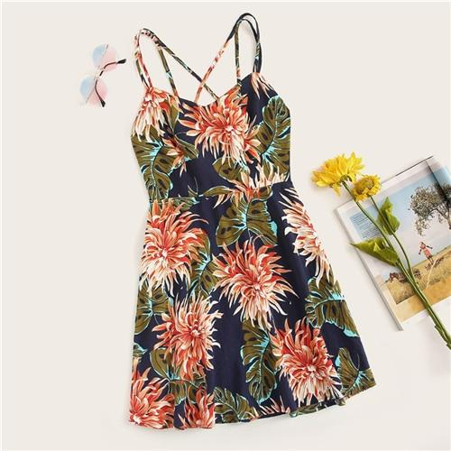 Boho Multicolor Crisscross Back Floral Print Cami Dress