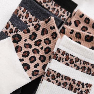 Retro Leopard Print Cotton Blends Women Socks