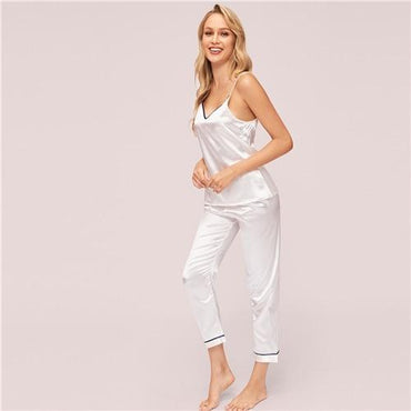 White V Neck Contrast Binding Satin Cami Top With Pant Pajama Set