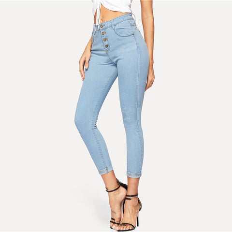Sheinside Blue Button Detail Skinny Jeans Women 2019 Spring Solid Mid Waist Stretchy Jeans Ladies Casual Denim Crop Trousers