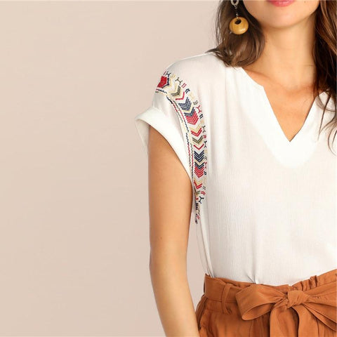 Boho White Short Cuffed Sleeve Embroidered Crepe Top