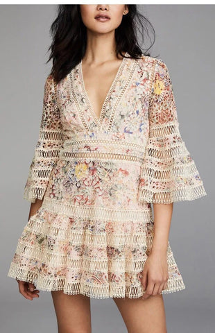 High-end Floral Embroidery Hollow Out Lace V-neck Bohemian Dress