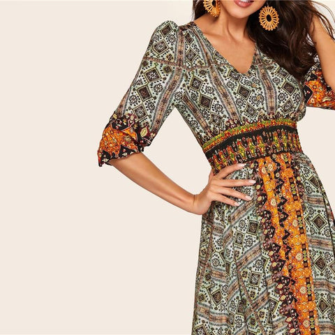 Bohemian Tribal Print Shirred Detail Dress