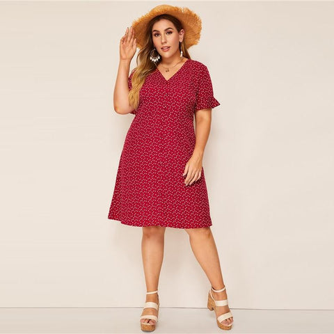 Plus Size Burgundy Heart Print Ruffle Cuff Button Up Dress