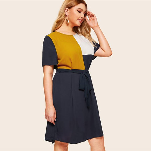 Plus Size Waist Belted Color Block Dress Tunic Keen Length Shift Dresses With Belt