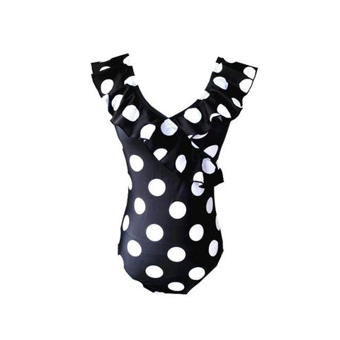 Frill Ruffled Polka Dot Thong One piece Monokini
