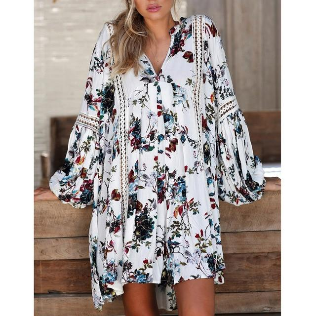 Boho Floral Long Maxi Mini Dress