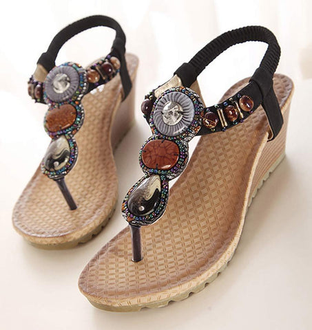 Flat Sandals Handmade Bead decoration Fashion Casual Sandals Shoes
