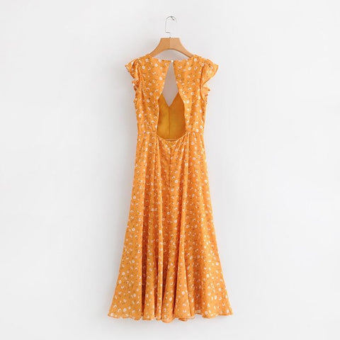 Sweet Floral Printing Summer Dress Back Hollow Out Yellow Sundress