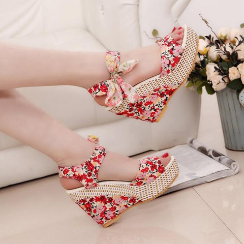 Boho Lace Up  Sandals Peep Toe Platform Sandals