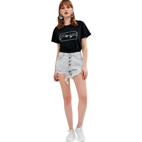 Hand Print Graphic Tee Cotton Crew Neck Girls Short Sleeve T-shirts
