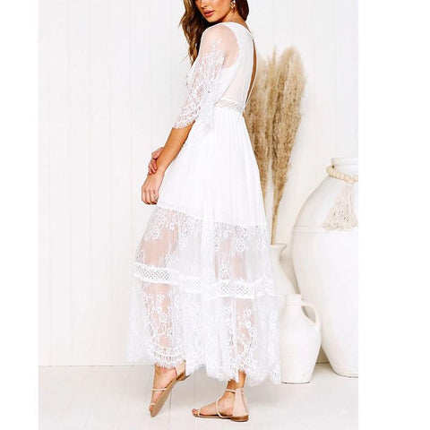 Boho  Half Sleeve Split White Lace Long Tunic Maxi Dress